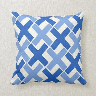 Two Tone Blue Xs With White Throw Pillow