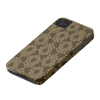 two tone brown tan devine damask Case-Mate iPhone 4 cases