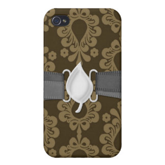 two tone brown tan devine damask covers for iPhone 4