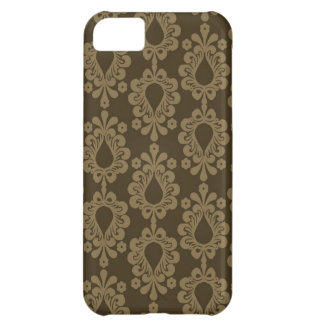 two tone brown tan devine damask iPhone 5C cases