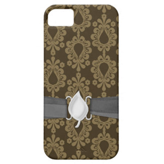 two tone brown tan devine damask iPhone SE/5/5s case