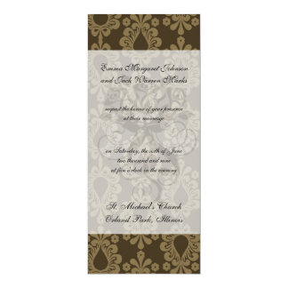 two tone brown tan devine damask pattern personalized invites