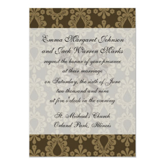 two tone brown tan devine damask pattern personalized announcements