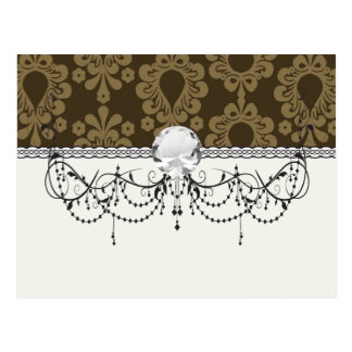 two tone brown tan devine damask post cards
