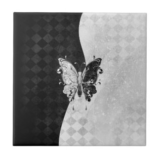 Two Tone Butterfly Ceramic Tile
