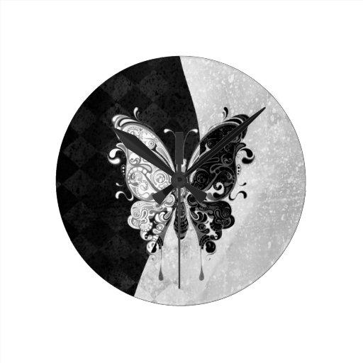 Two Tone Butterfly Wall Clocks