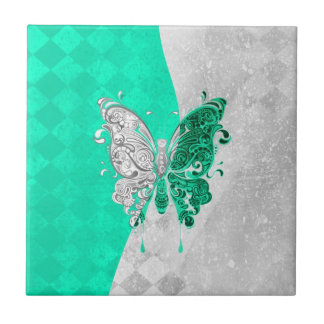 Two Tone Butterfly in White and Teal Tile