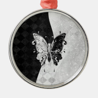 Two Tone Butterfly Round Metal Christmas Ornament