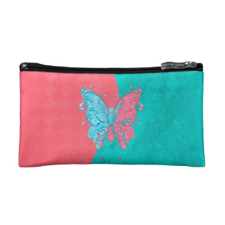 Two Tone Butterfly Pink and Teal Makeup Bag