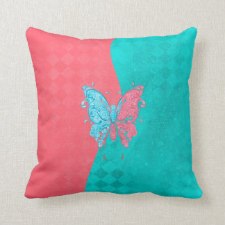 Two Tone Butterfly Pink and Teal Throw Pillow