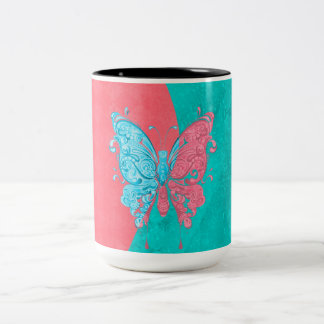 Two Tone Butterfly Pink and Teal Two-Tone Coffee Mug
