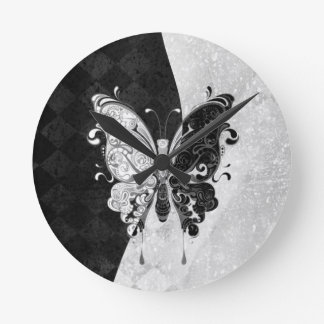 Two Tone Butterfly Round Clock