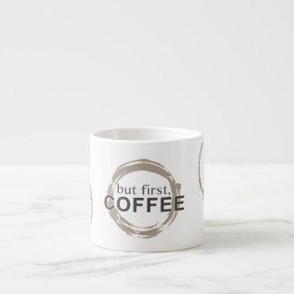 Two-Tone Coffee Mug Rings - But First, Coffee 6 Oz Ceramic Espresso Cup