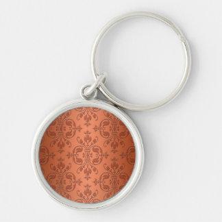 Two Tone Copper Orange Damask Keychain