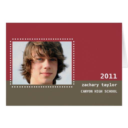 Two Tone Dot Graduation Invitation-red Greeting Card