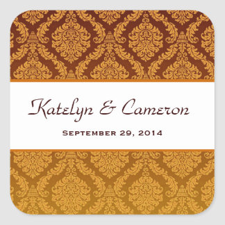 Two Tone Gold and Brown Damask  Wedding V39 Square Stickers