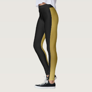 Two Tone Gold & Black Leggings