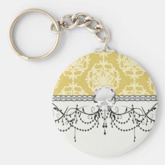 two tone gold royale damask pattern basic round button keychain
