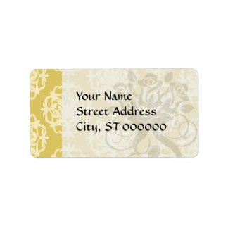 two tone gold royale damask pattern label