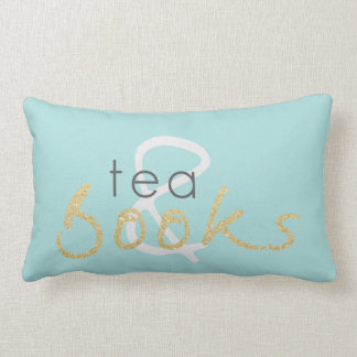Two Tone Gold Sparkle Tea and Books Pillow