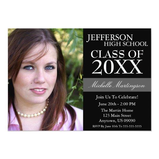 Two-Tone Graduation Invitations (Black)