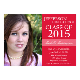 "Two-Tone Graduation Invitations (Red) 5"" X 7"" Invitation Card"