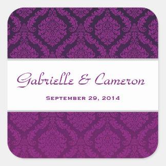 Two Tone Grape Purple Damask  Wedding V42 Square Sticker