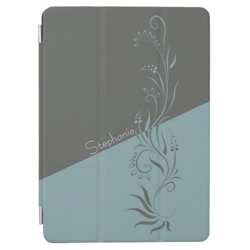 Two Tone Gray and Blue Floral Swirls iPad Air Cover