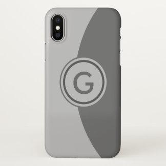 Two Tone Gray Monogram iPhone X Case