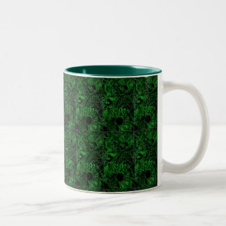 Two-Tone (Green) 11oz. Mug with sunflowers