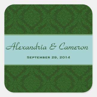 Two Tone Green and Aqua Damask  Wedding V90 Square Sticker