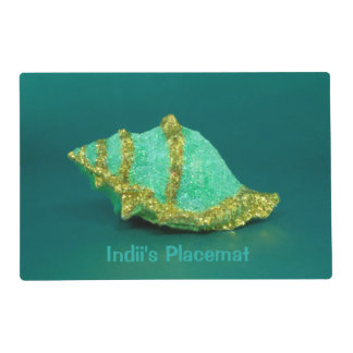 Two Tone Green and Gold Shell - Laminated Placemat
