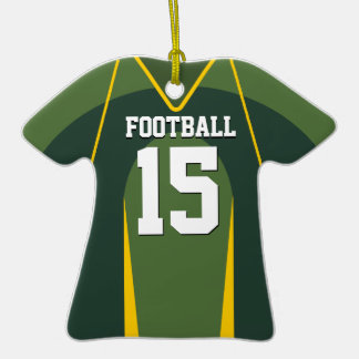 Two Tone Green and Yellow Football Jersey Ornaments