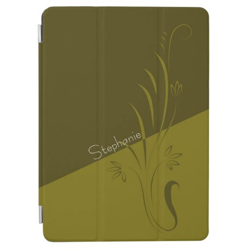 Two Tone Green Split Color Floral Swirls iPad Air Cover
