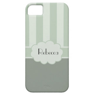 Two Tone Green Stripes/Cloud+Personalize Name iPhone SE/5/5s Case