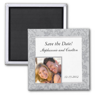 Two-tone Grey Damask Wedding Announcement Magnet