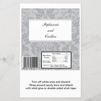 Two-tone Grey Damask Wedding Large Candy Bar Wrap