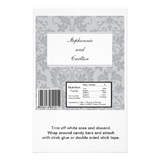Two-tone Grey Damask Wedding Large Candy Bar Wrap Flyer