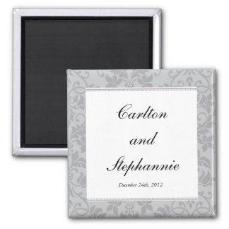Two-tone Grey Damask Wedding Magnet Favor