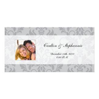 Two-tone Grey Damask Wedding Photo Announcement