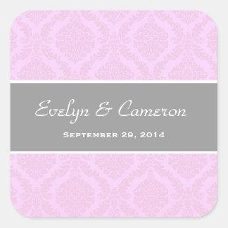 Two Tone Ice Pink Damask  Wedding V87 Square Sticker