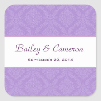 Two Tone Lavender Purple Damask  Wedding V62 Square Sticker