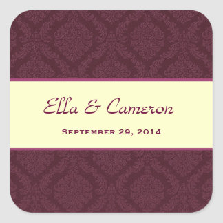 Two Tone Maroon and Cream Damask  Wedding V57 Square Sticker