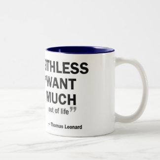 Two-tone mug - 'Coaching is worthless to those...'
