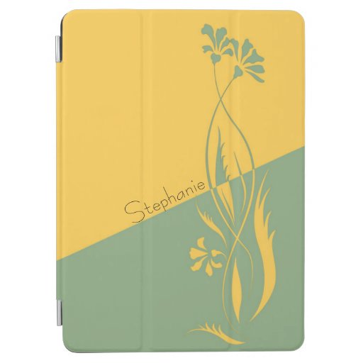 Two Tone Mustard and Sage Floral Swirls iPad Air Cover