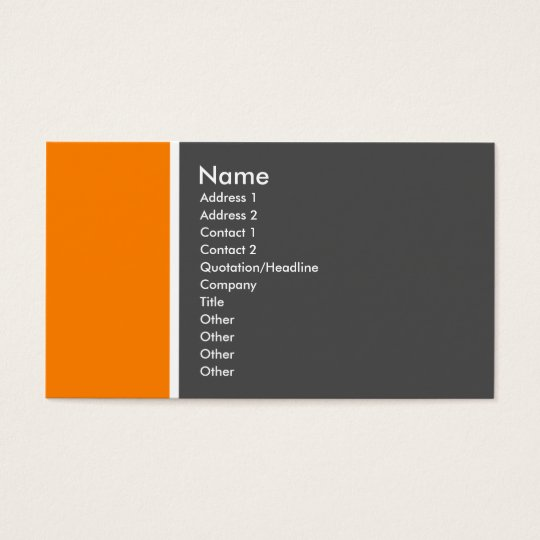 Two Tone (Orange and Gray) Business Card