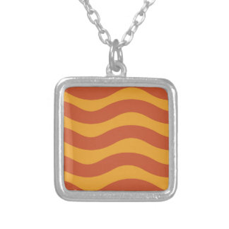Two Tone Orange Wavy Stripes Silver Plated Necklace