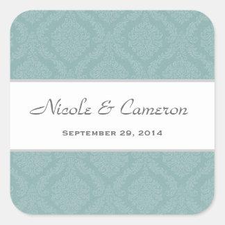 Two Tone Pale Sea Foam Damask  Wedding V24 Square Sticker