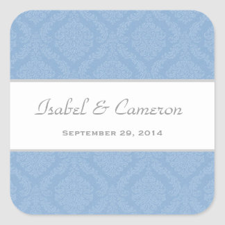 Two Tone Pale Steel Blue Damask  Wedding V70 Square Sticker