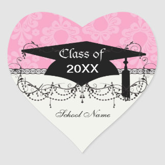 two tone pastel pink floral damask graduation heart sticker